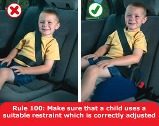 The driver MUST ensure that all children under 14 years of age are secure