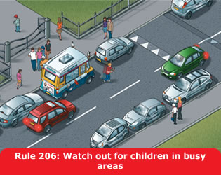 Watch out for children in busy areas