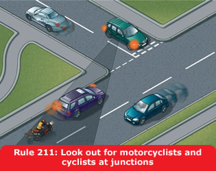 Motorcyclists and cyclistst