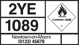 A safety hazard sign showing flammable liquid